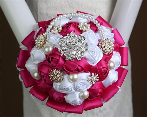 Luxury Wedding Bouquets Silk Flowers Vintage Artificial Rose Bridesmaid Flower Pearl Bridal Bouquets In Stock Display Case