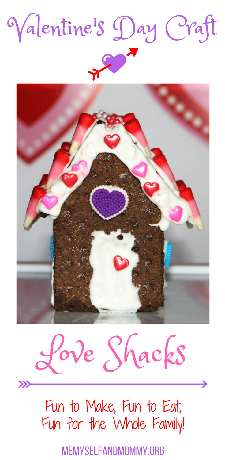 Looking for a fun Valentine's day Kids craft that is fun for the whole family? Click to see how we made these adorable love shacks. They looked cute and tasted good, too!