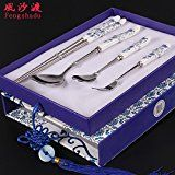 Amazon.com: Delicate Stainless Steel Flatware Cutlery Set 304 Stainless Steel Cutlery Porcelain And Chopsticks Spoon Fork Set Adults Japanese And Korean Style Ceramic Boxes: Industrial & Scientific