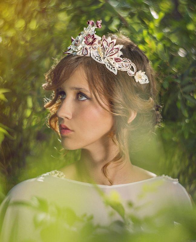 Statement bridal flower crown silk flowers/ Swarovski crystals / guipure lace