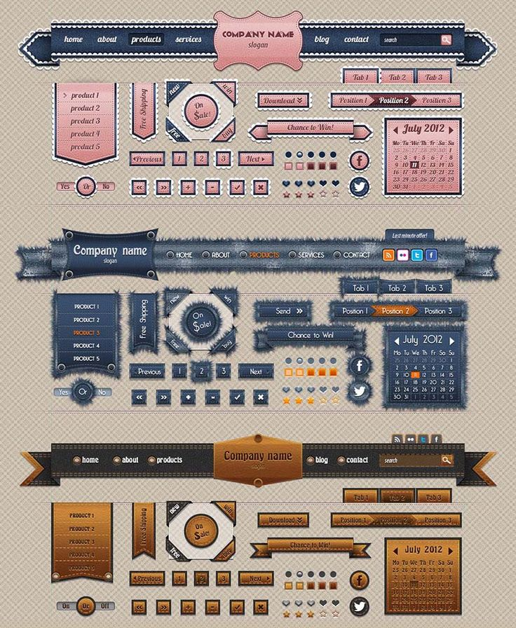 Jeans Web UI Elements designed for GraphicRiver, designed 2012. Check at http://graphicriver.net/item/jeans-web-ui-elements/2667437