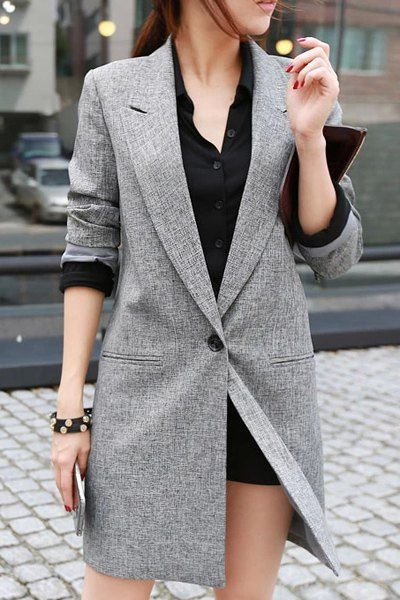 OL Style Lapel Single-Breasted Gray Blazers For Women