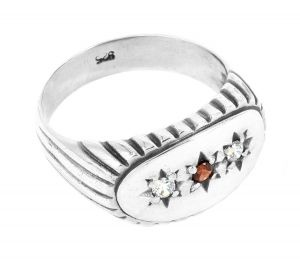 Johnny ring in sterling silver and cubic zirconias - $380