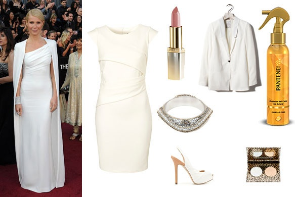 Gwyneth Paltrow de Tom Ford. Look: vestido de Topshop (46libras), pulsera de Uterqüe (79.95eu), zapatos de Zara (49.95eu), blazer de Pull