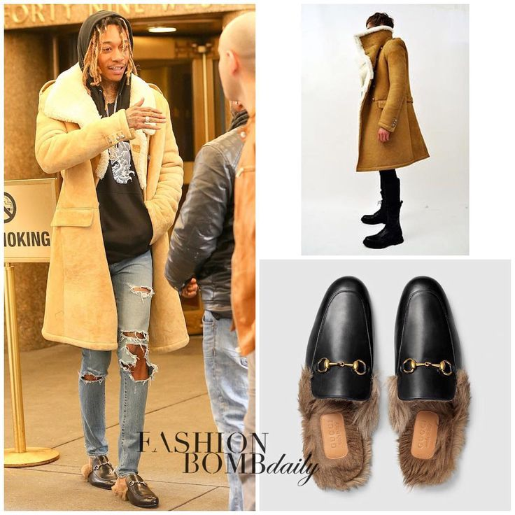"""Men's Fashion Flash: #WizKhalifa @mistercap hit up NBC Studios wearing a Fall 2011 @Balmainparis asymmetrical shearling long coat and $995 @Gucci fur…"""