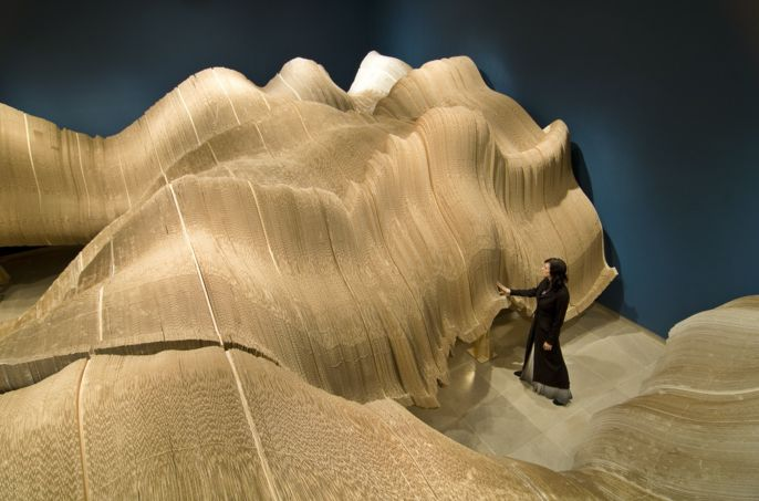 Landscape constructed out of cardboard.