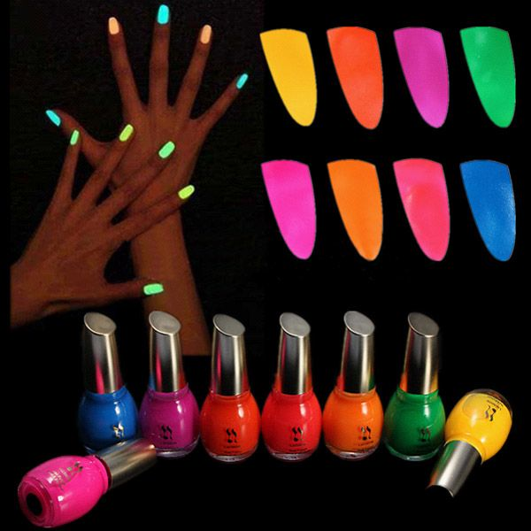 Wholesale New Luminous Noctilucent Fluorescent Nail Polish Lacquer Noen Glow In Dark 15ml