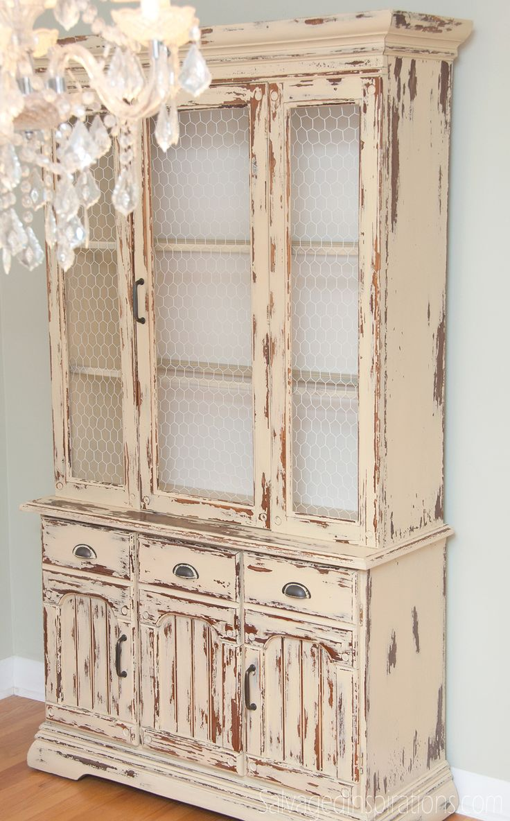 Salvaged Inspirations | Milk Painting Laminate Furniture and a Country Farmhouse-Chic Hutch | This was my first attempt at milk-painting over wood laminate. A few bumps along the way but I LOVE the chippy end result!