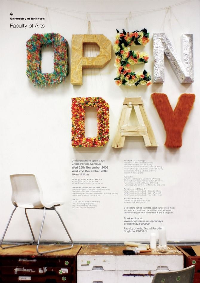 Anieszka Banks Open Day Poster For The University Of Brighton Faculty Arts
