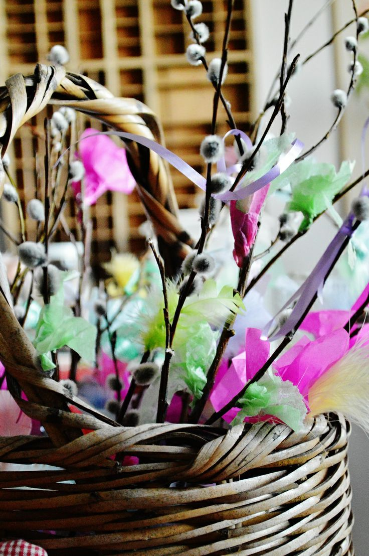 Easter decorations, pussy willow, silk paper and feathers