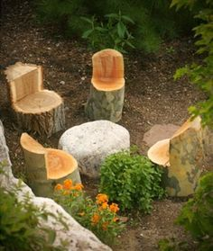11 pictures of crazy cool uses for tree stumps, outdoor furniture, outdoor living, repurposing upcycling, woodworking projects, Photo via Kelly Annie