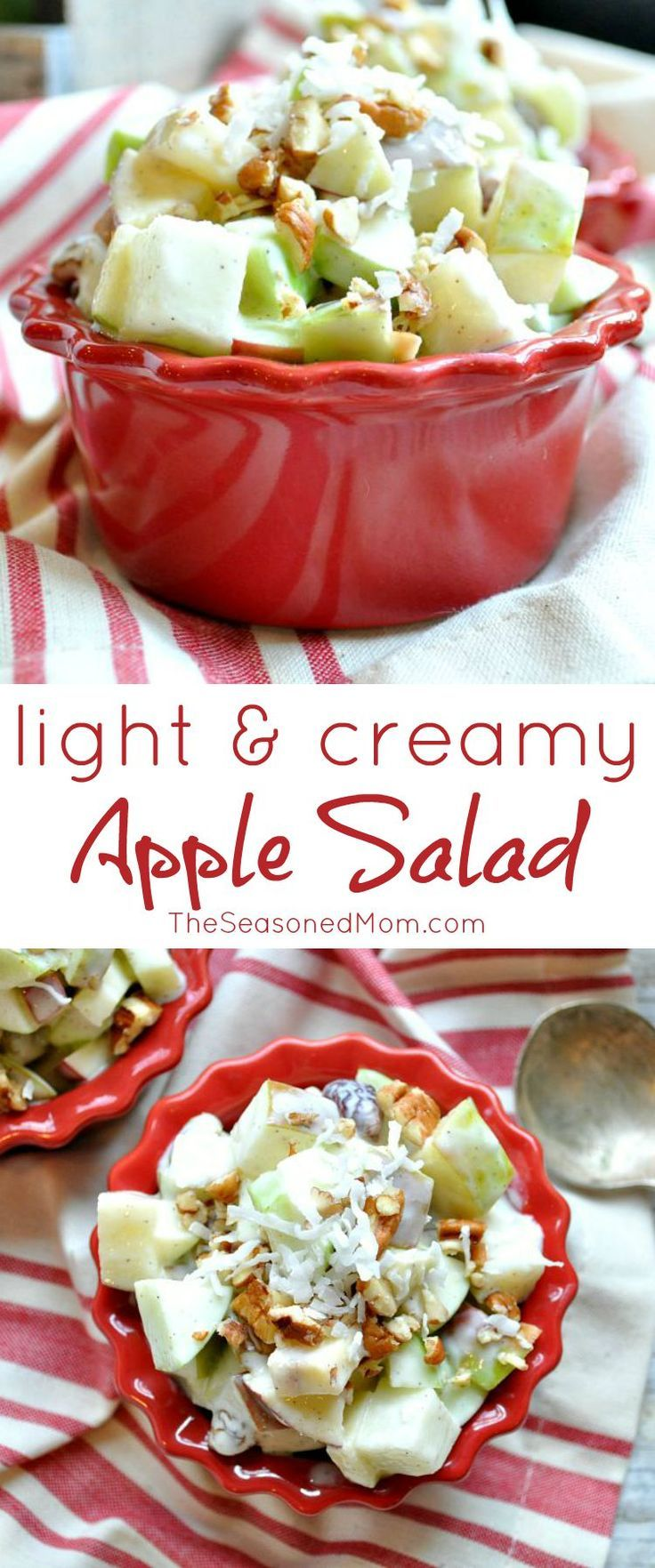 Need a quick and healthy side dish, breakfast, or snack this season? Packed full of clean eating ingredients, this Light & Creamy Apple Salad is ready in about 10 minutes!