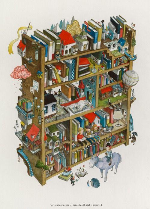 bibliolectors:  Una biblioteca llena de imaginación (ilustración...