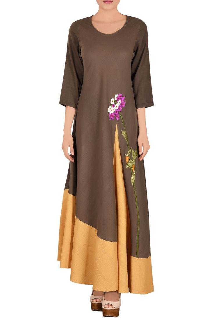 Shop Purvi Doshi - Brown khadi parsi work dress Latest Collection Available at Aza Fashions