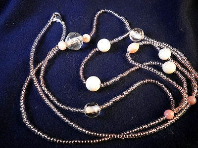 Necklace with vintage angelskin coral beads and japanese glass beads