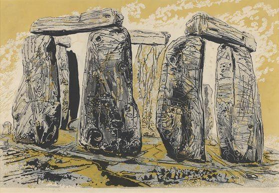 Gertrude Hermes, Stonehenge, 1959, linocut
