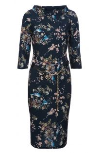 Floral Midi Dress With Blue Birds