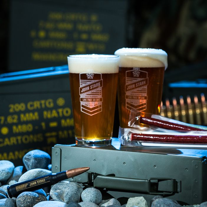 Enjoy a beer in your laser-etched barware at the beach, in the woods, or in the most outers of space with the Personalized Pint Set Ammo Can.