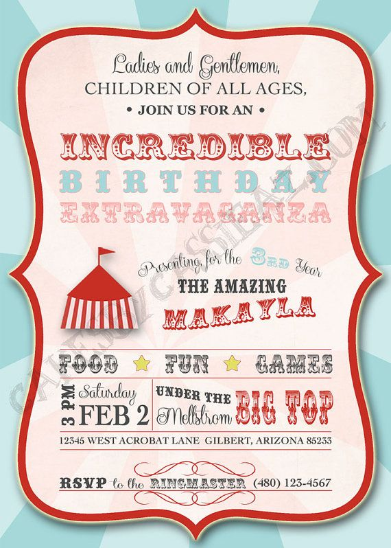 Under The Big Top Printable Circus Birthday Invitation. $9.00, via Etsy.