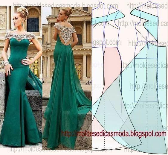 Como hacer vestidos largos y elegantes con patrones01                                                                                                                                                                                 Más