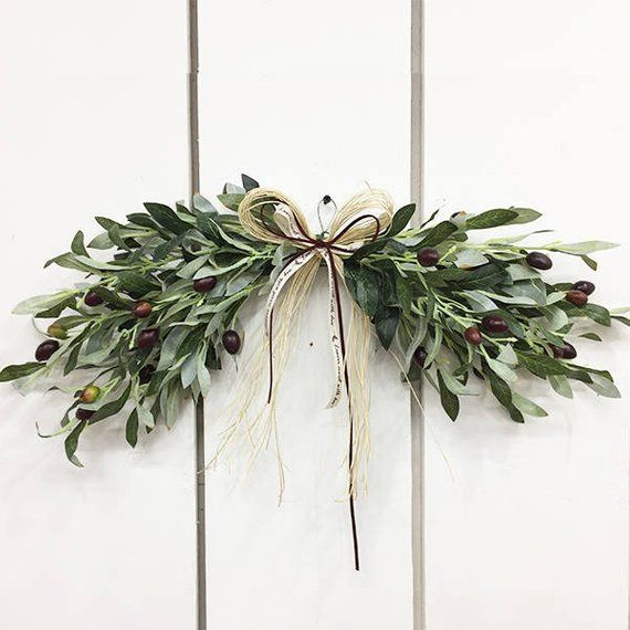 This Item Is Used To Decorate The Door Or Wall I Used Artificial Olive Tree Branches And Berries But Using Good Door Decorations Christmas Swags Swag Wreath