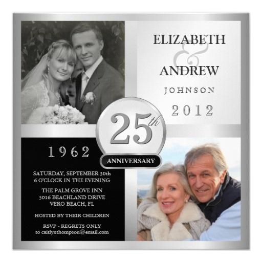25th Anniversary Party Invitations - 2 Photos