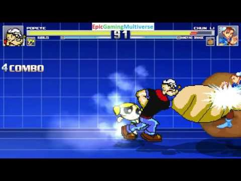 Annoying Orange And Chun-Li VS Popeye And Bubbles The Powerpuff Girl In A MUGEN Match / Battle This video showcases Gameplay of Bubbles The Powerpuff Girl From The Powerpuff Girls Series And Popeye The Sailor Man VS Chun-Li From The Street Fighter Series And The Annoying Orange In A MUGEN Match / Battle / Fight
