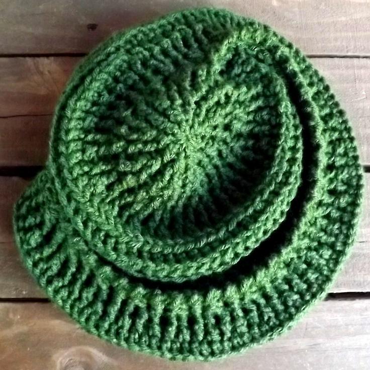 Crochet Hat Women Hat - Asymmetrical CONQUISTADORA Hat in Olive Green $40.00