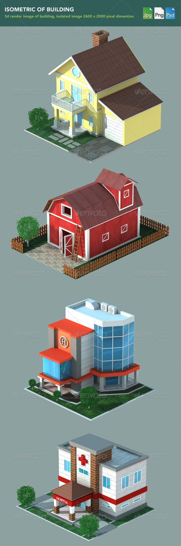 Isometric 3D Render of Building #GraphicRiver 3d render image of building…