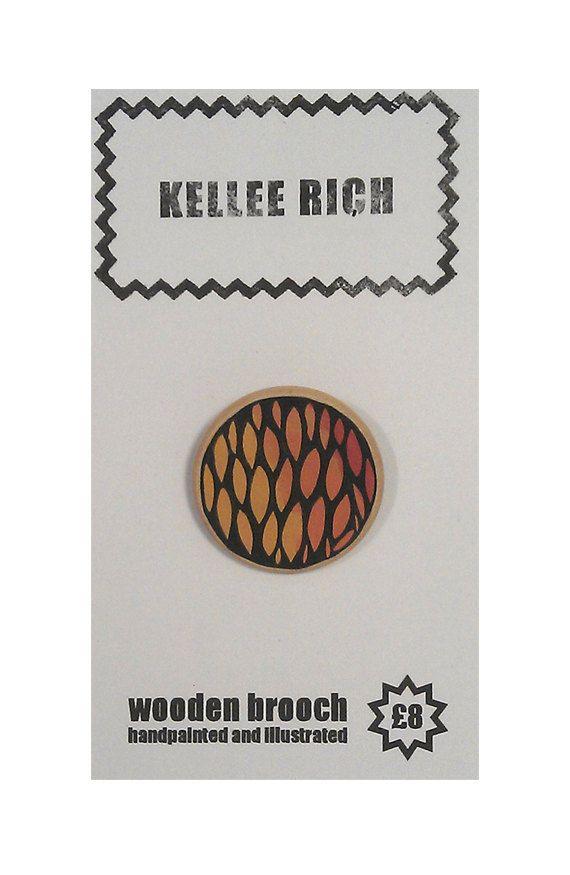handpainted wooden brooch  pin  badge  orange red by KELLEERICH, £8.00 #brooch #handmade #handpainted #illustrated #wood #pin