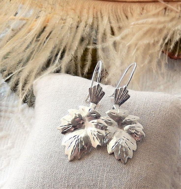 Vintage Sterling Silver Maple Leaf Dangle Pierced Earrings