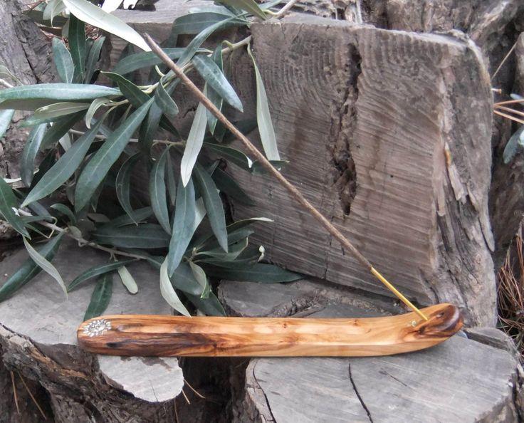 Incense Burner, holder with silver inlays, hand carved from olive wood, by ellenisworkshop on Etsy