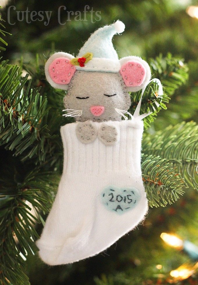 Baby Mouse Sock Stocking Ornament....these are the BEST DIY Ornament Ideas for…