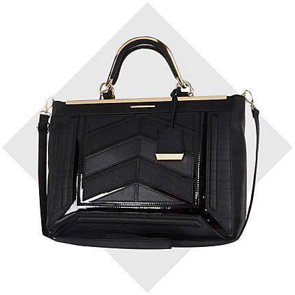 Black chevron panel structured tote bag £45.00