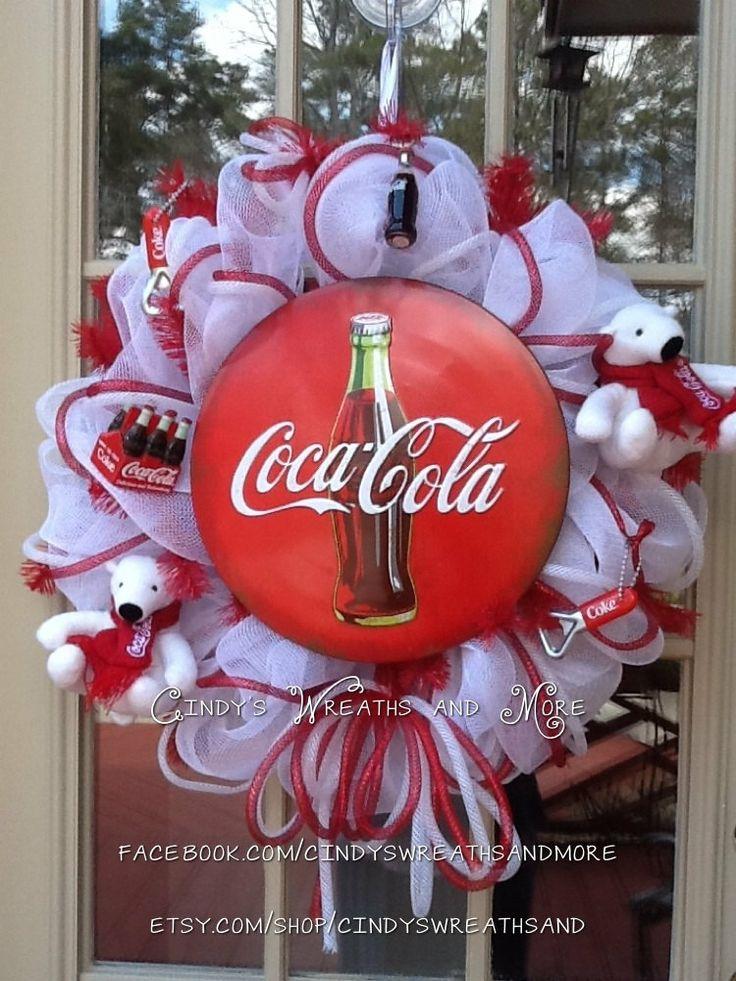 Coca+Cola+Wreath+Custom+Wreath+Deco+Mesh+Mesh+by+Cindyswreathsand,+$100.00