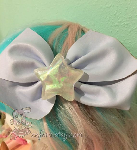 Big Holographic Star Baby Blue Fake Leather Fairy Kei by zefora