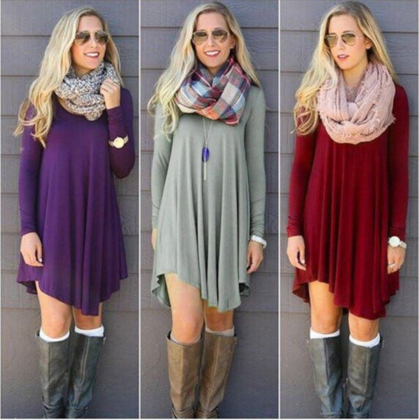 This long sleeve tunic dress is the perfect fall and winter outfit! Pair with your favorite boots and scarf for an easy ready to go stylish look. Size Chart: Size Bust Sleeve Front Length Back Length