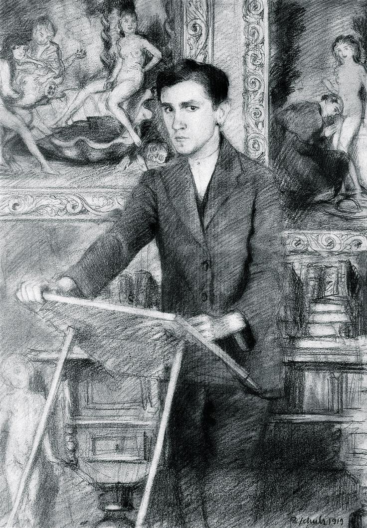 «Autoportrait avec le Livre de l'idolâtrie», 1919, de Bruno Schulz