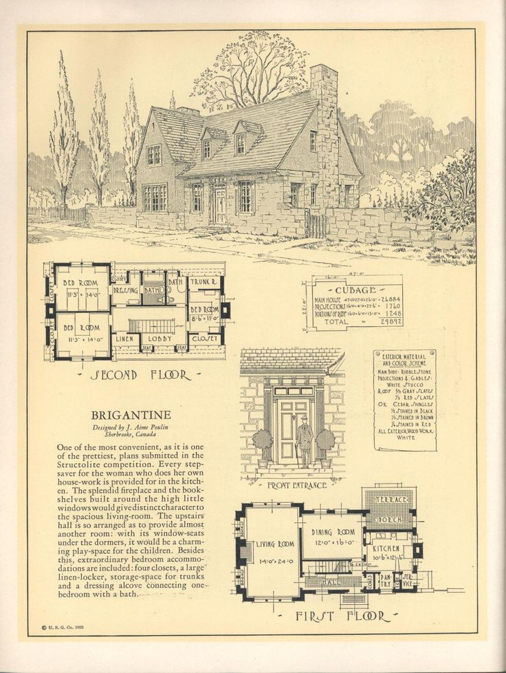 seventy two designs for fireproof homes - Vintage Storybook House Plans