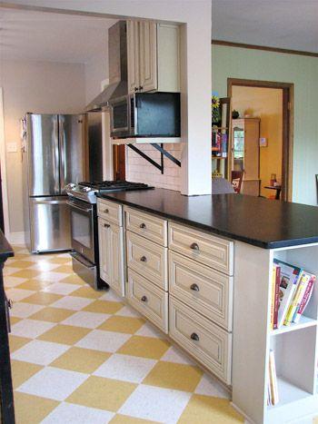 light cabinets, dark countertops. Inspiration for our cabinet refurbish.