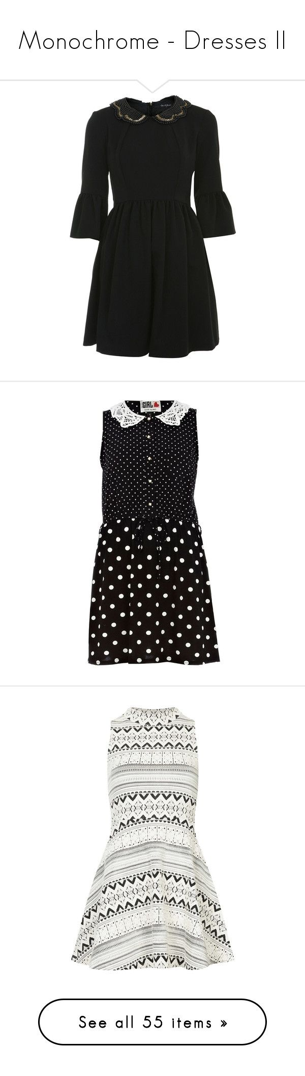 """""""Monochrome - Dresses II"""" by cat-on-wheels ❤ liked on Polyvore featuring dresses, black, miss selfridge, collar, miss selfridge dresses, collared dresses, embellished collar dress, river island, vintage looking dresses and button front sleeveless dress"""