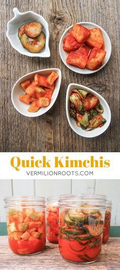 Quick Kimchis | vermilionroots.com. A good and fun introduction to homemade kimchi for beginners. This recipe can be used to kimchi daikon radish, cucumber, baby bok choy and even pineapple!