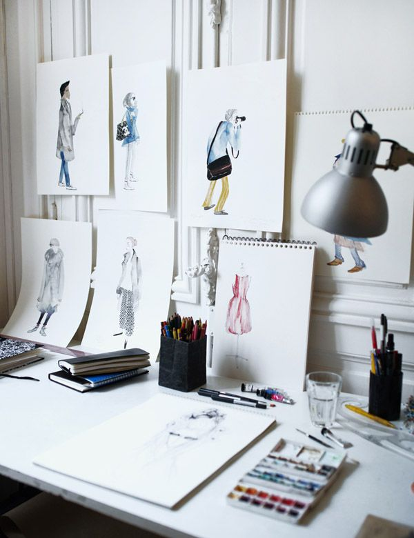 Illustrator Leo Greenfield at his temporary workspace whilst in residence at the Paris atelier of Australian fashion designer Martin Grant.