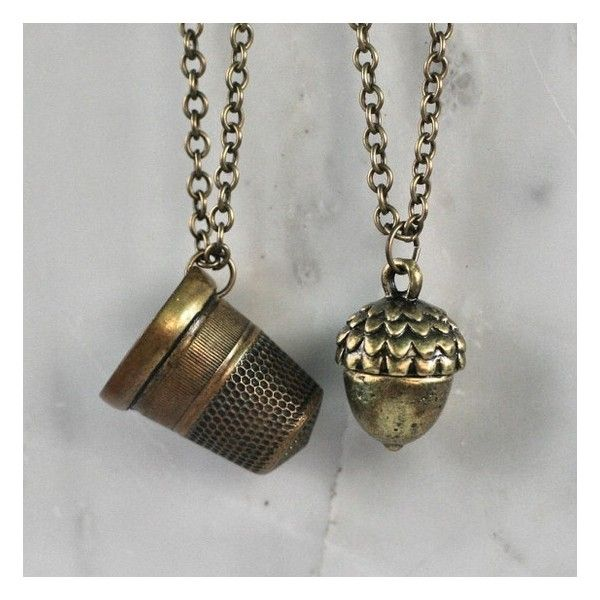 Peter Pan Wendy Kiss Thimble and Acorn Necklace Set Brass ❤ liked on Polyvore