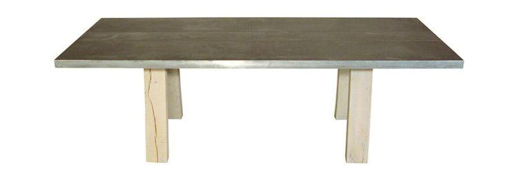 LOCAL ZINK by ZinX Tavolo rettangolare in legno di quercia e top in zinco 180-300 x 90-100 x 75 cm.