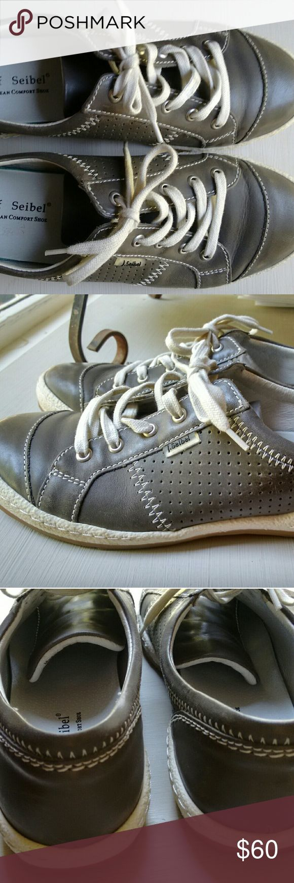 Josef Seibel Caspian leather sneakers EUC size 39 This is a pair of Josef Seibel Caspian women's fashion sneakers in gray leather. They are in excellent used condition. They are a size 39 European. They fit like a size 8 us to me. Minimal wear. Very clean. Josef Seibel Shoes Sneakers