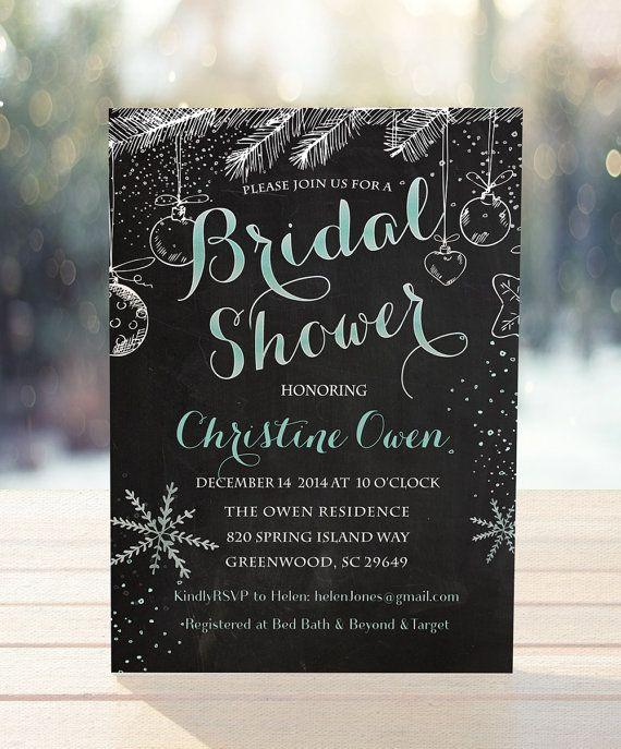 Winter bridal shower invitation, winter wedding shower invitation, Snowflake invitation,brunch with the bride, unique winter invitation