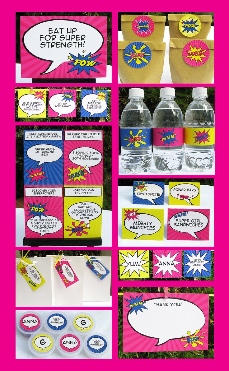 Girl Superhero Birthday Invitation & Printable Party Collection, EDITABLE Text PDF file - you personalize at home with Adobe Reader