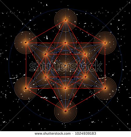Metatrons cube, a vector illustration of sacred geometric mystical symbol.