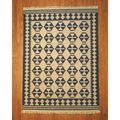 Indo Kilim Ivory/ Navy Rug (5'6 x 7'11)  | Overstock.com Only one I have been able to find. Is it too big for upstairs hallway?